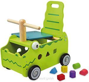 Primi Passi Carrellino Cavalcabile In Legno Coccodrillo Cm 35x27x44 Per Bambini Et 12 Mesi Im Toy 0