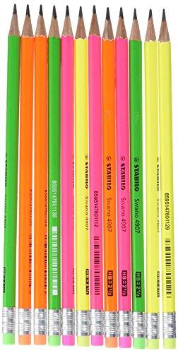 Stabilo Swano Fluo Matita In Grafite Con Gommino Gialloverdearancionerosa Eco Pack Da 12 0