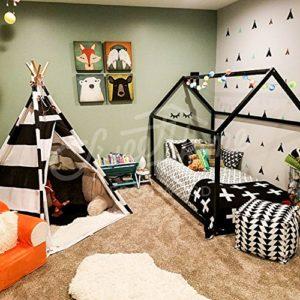 Sweet Home From Wood Letto Singolo Montessori Diversi Colori Nero Single Size 190x90cm 0