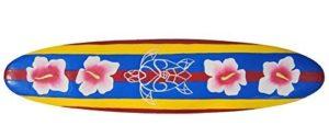 Tavola Da Surf 100cm Con Ibisco Fiori Motivo Decorazione Hawaii Targa In Legno 0