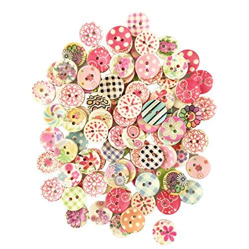 IPOW 300 PZ Colori Dipinte Bottoni di Legno Rotonda Fai da Te Bottoni Rotondi Misti Colorati Bottoni per Arte Lavorazione Maglieria Cucito 15 20 25mm MZNK02