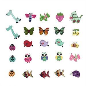 Tomkity 200 Pezzi Bottoni Colorati Decorativi In Legno Bottoni Rotondi Animali Per Cucito E Lavorazione Fai Da Te 0 2