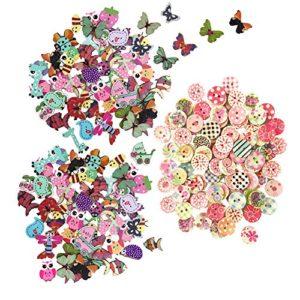 Tomkity 200 Pezzi Bottoni Colorati Decorativi In Legno Bottoni Rotondi Animali Per Cucito E Lavorazione Fai Da Te 0