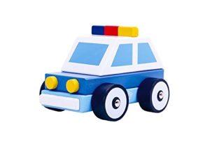 Tooky Toy Macchina Della Polizia Di Legno Per Bambini Dai 18 Mesi 0
