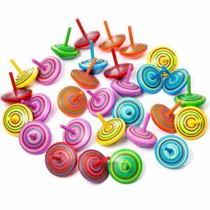 Zoeon 30 Pezzi Trottola In Legno Giroscopio In Legno Colorati Artigianali Set Per Bambini 0