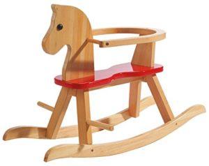 Roba Cavallo A Dondolo In Legno Massiccio Naturale Laccato Rosso Staffa Di Protezione Amovibile In Base Alla Fase Di Crescita Del Bambino 0
