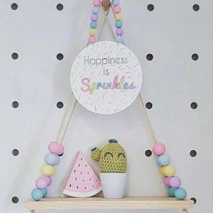 Arvin87lyly Mensola Sospesa Decorativa Per Cameretta Bambini In Legno Con Perline Di Legno 0