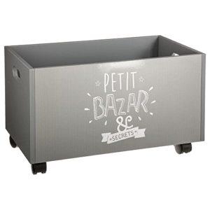 Box In Legno Su Rotelle Per Bambini Colore Grigio E Bianco 0