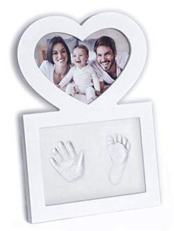 Click Clay Cornice Impronte Manine E Piedini Neonato Idea Regalo Battesimo Design A Forma Di Cuore Bianca 0