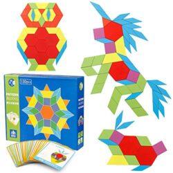 Coogam 130 Pcs Pattern In Legno Blocchi Set Forma Geometrica Manipolativa Puzzle Grafica Precoce Educativo Montessori Tangram Toys Rompicapo Regalo Stem Per Bambini Con 24 Carte Design Pcs 0