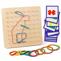 Coogam Geoboard Di Legno Con Carte Di Pattern Di Attivit E Bande Di Gomma 8x8 Pin Geometria Geoboard Montessori Forma Puzzle Tavola Ispira Limmaginazione E La Creativit Del Bambino 0