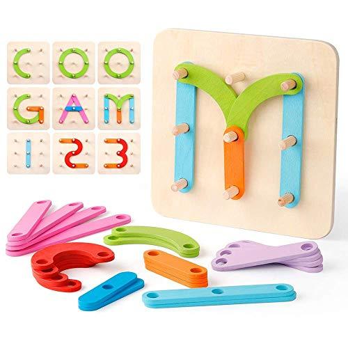 Coogam Numeri Di Legno E Lettere Kit Di Attivit Di Costruzione Montessori Giocattolo Educativo Forma Colore Riconoscimento Ordinamento Tavola Per I Bambini 0