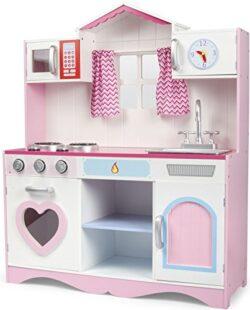 Cucina Rosa Giocattolo Per Bambini Gioco In Legno Giocare Dimitazione Accessori Per Cucina Pink Play Kitchen Dimensioni 82x30x101 0