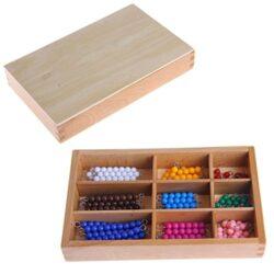 Dabixx Baby Education Toys Montessori Matematica Materiale Di Conteggio 1 9 Beads Bar In Scatola Di Legno Precoce Prescolare Giocattolo Colorato 0