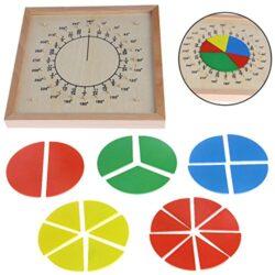 Dabixx Baby Education Toys Montessori Matematica Materiale Di Conteggio Di Legno Circolare Frazioni Scoreboard Kid Giocattolo Educativo 0