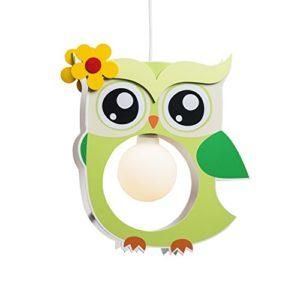 Elobra Lampada Da Soffitto Per Bambini Motivo Gufo In Legno Colore Verde Chiaro A 0