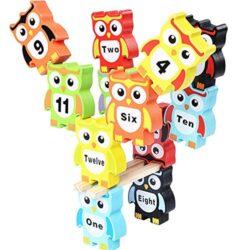 Gobus Coloratissimi Blocchi Di Legno Gufo Impilabile Mattoni Giocattoli Set Gioco Di Equilibrio Per Le Parole Numero Di Apprendimento Dei Bambini 0