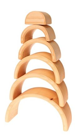Grimms Large 6 Piece Wooden Stacking Nesting Rainbow Tunnelarches Block Stacker In Natural By Grimms Spiel And Holz Design 0