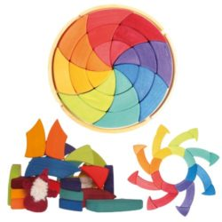 Grimms Large Circle Of Goethe Wooden Waldorf Colour Wheel Pattern Puzzle Blocks In Storage Tray 0
