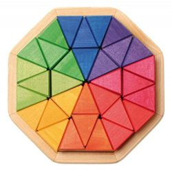 Grimms Medium Octagon Form Building Set Wooden Mosaic Block Puzzle 32 Triangles By Grimms Spiel And Holz Design 0