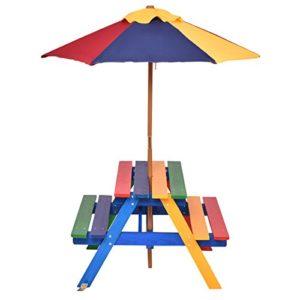 Gymax Panca Per Bambini Tavolo Da Picnic Con Ombrellone In Arcobaleno Set Mobili Da Giardino Bbq 0