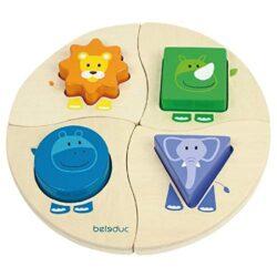 Hape 18004 Funny Four Puzzle Con Forme E Animali 0