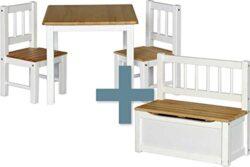 Ib Style Salottino Per Bambini Noa 3 Combinazioni 4 Pezzi Set Composto Da Tavolo Per Bambini 2 Sedie E Cassapanca 0