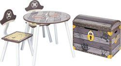 Ib Style Salottino Per Bambini Pirate 3 Combinazioni 4 Pezzi Set Composto Da Tavolo Per Bambini 2 Sedie E Cassapanca 0