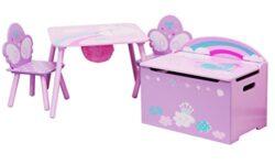 Ib Style Salottino Per Bambini Unicorn 3 Combinazioni 4 Pezzi Set Composto Da Tavolo Per Bambini 2 Sedie E Cassapanca Set Di Mobili Per Bambini Con Cassapanca 0