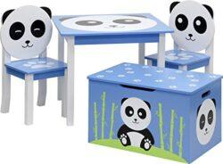Ib Style Set Di Mobili Per Bambini Panda 3 Combinazioni 4 Pezzi Set Composto Da Tavolo Per Bambini 2 Sedie E Cassapanca Set Di Mobili Per Bambini Con Cassapanca 0