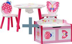Ib Style Set Di Mobili Per Bambini Papillon 6 Combinazioni 4 Pezzi Set Composto Da Tavolo Per Bambini 2 Sedie E Cassapanca Set Di Mobili Per Bambini Con Cassapanca 0