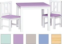 Ib Style Set Di Tavolo E Sedie In Legno Vero Da Cameretta Per Bambini Luca Color 2 Sedies Con Tavolo Bianco Serenity 0