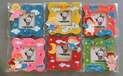 Idea Bomboniera Cornice Foto Per Bambini Angeli Coloratiset Da 6 Pezzi Assortiti Cm 11x11 In Legno 0