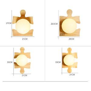 Kmyx Applique Da Parete In Legno In Legno Di Gomma Applique Modello Di Puzzle Per Bambini In Camera Da Letto Decorato Lampada Da Soffitto Soggiorno Camera Da Letto Studio Lampada Da Parete A Luce 0 0