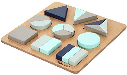 Kindsgut Puzzle Di Legno Giocattolo Per Sviluppare La Motricit Blu E Acquamarina 0
