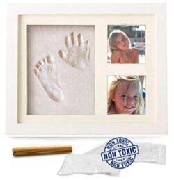 Kit Memoria Impronte Mani Piedi In Cornice Legno Per Neonati Bambini Speciale Regalo Per Festeggiare La Nascita O Per Battesimo Da Tavolo O Applicabile A Parete 0