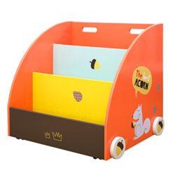 Labebe Scaffale Chiuso Scaffale Basso Di Legno Arancione Scoiattolo Per Bambini Oltre 1 Anno 2 In 1 Scaffale Moderno Con Ruote Di Legno Doppio Uso Come Carrello E Scatola Giocattololibreria Bambini 0