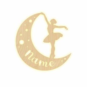 Lampada Da Parete Personalizzabile Con Scritta Ballerina Mond Sterne Per Cameretta Dei Bambini Con Nome Luce Notturna A Led Da Parete Decorazione In Legno Per Ragazzi E Ragazze Set Regalo 0 0