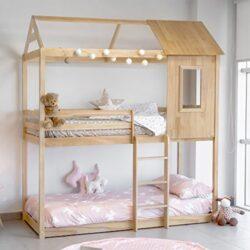 Letto Tipo Montessori A Forma Di Casa Colore Pino 0