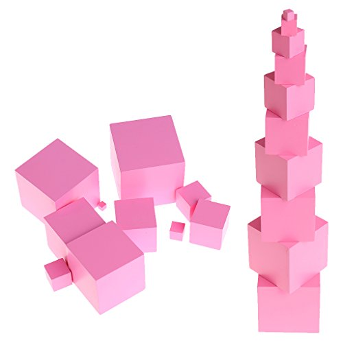 Torre rosa, giocattolo educativo Montessori in legno