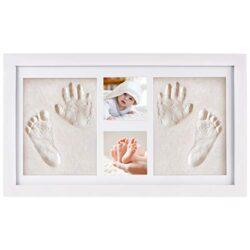 Nimaxi Kit Portafoto E Impronte 3d Per Bambini Cornice Per Calchi In Gesso Di Mani E Piedi Set In Legno Bianco 43x25cm 0