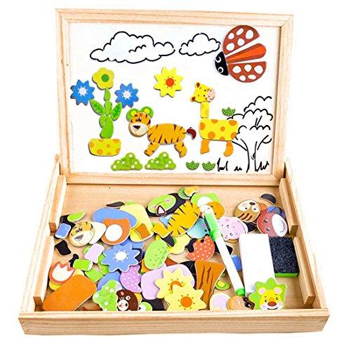Puzzle Magnetico Legno Cooljoy Giocattolo Di Legno Bambini Con Lavagna A Double Face Apprendimento Educativo Bambini 3 Anni 4 Anni 5 Anni Quasi 100 Pezzi Pu Attaccare Sul Frigoriferoanimale 0
