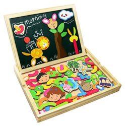 Puzzle Magnetico Legno Lavagna Magnetica Doppio Lato Puzzle Di Legno Giochi Educativi Per Bambini 3 4 5 Anni 0