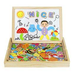 Puzzle Di Legno 93 Pezzi Magnetico Giocattoli A Due Lati Del Tavolo Da Disegno Giochi Matematici Per I Bambini Oltre 3 Anni 0