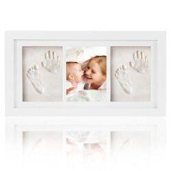 Regalo Ideale Per Bambino Kit Porta Foto Per Impronte Di Bambini Di Mano E Piedi Cornice In Legno Per Battesimi E Per Festeggiare Il Neonato 0