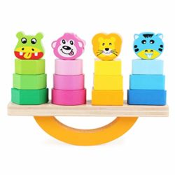 Runrain Animal Cartoon Equilibrio Trave Di Legno Gioco Giocattolo Impilamento Geometric Block Tower Kids Educational Puzzle Toys 0