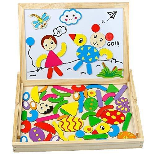 Tonze Puzzle Legno Magnetico Lavagna Magnetica Legno Giocattoli Animali Jigsaw Puzzle Lavagna Double Face Giochi Montessori Per Bambini 3 4 Anni 0