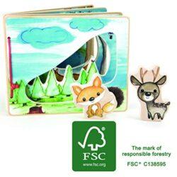 Small Foot Company Libro Illustrato In Legno Foresta Composto Da Quattro Pagine Per Un Gioco Interattivo Giocattoli 11234 0