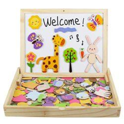 Yoptote Puzzle Magnetico Legno Giocattolo Di Legno Giochi Montessori Bambini Con Lavagna Magnetica 123pcs Double Side Per Bambini 3 Anni 4 Anni 5 Anni 0
