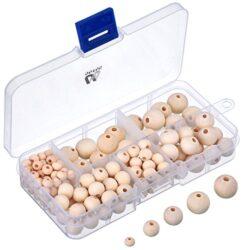 150 Pezzi Perline Legno Naturale Con Scatola Per Fare Gioielli Fai Da Te 5 Formati 6 Mm 8 Mm 10 Mm 12 Mm 14 Mm 0